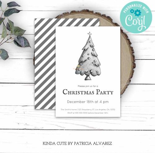 Editable Elegant Black and White Christmas Party Invitation