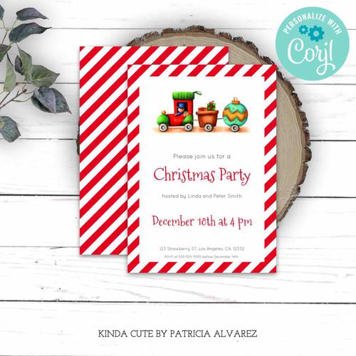Editable Christmas Train Red Party Invitation