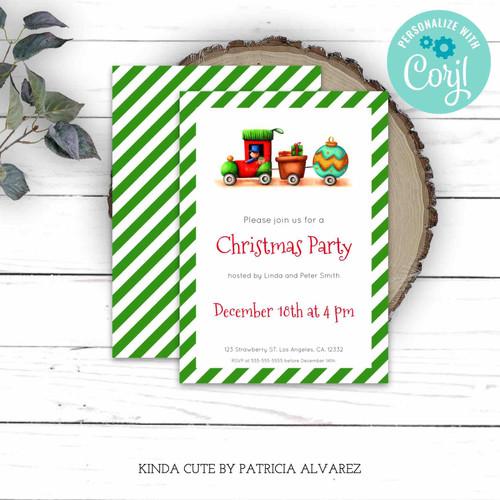 Editable Christmas Train Green Party Invitation