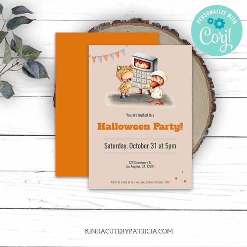 Editable Halloween Party Invitation for Kids