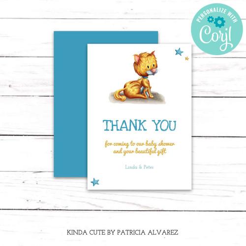 Editable Cat Blue Thank You Card