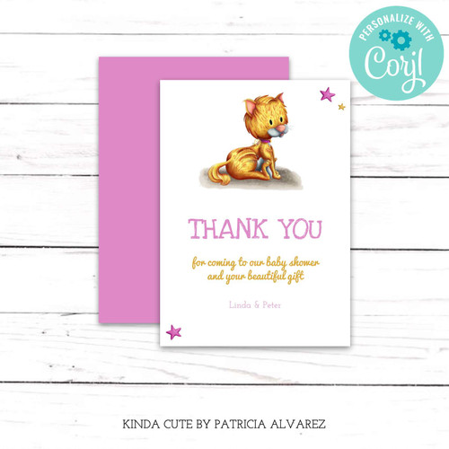 Editable Cat Pink Thank You Card