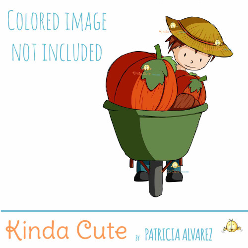 Boy with wheelbarrow digital stamp