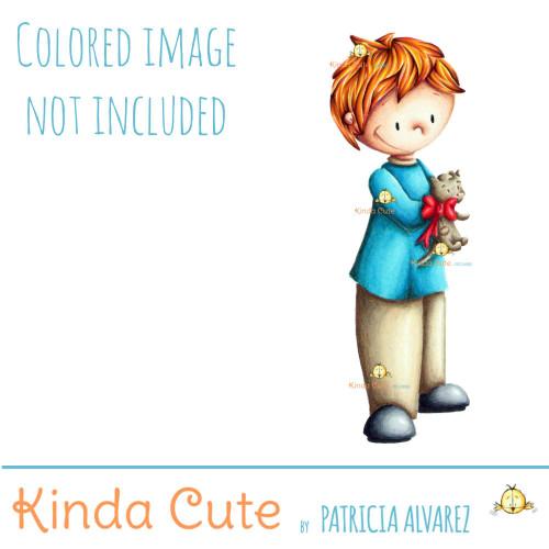 Boy with kitten Valentine's day digital stamp