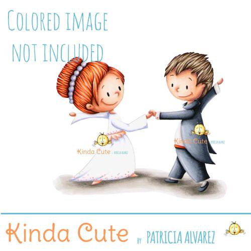 Bride and groom digital stamp