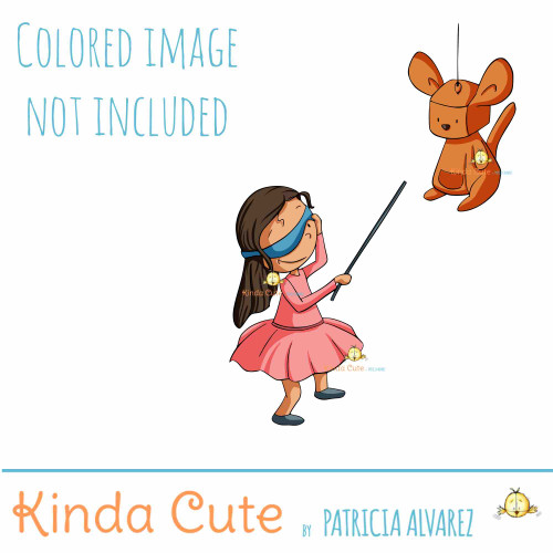 Girl and piñata digital stamp