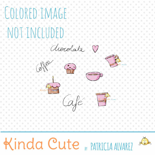 Chocolate doodles digital stamp set