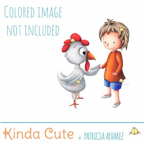 Boy and chicken digital stamp