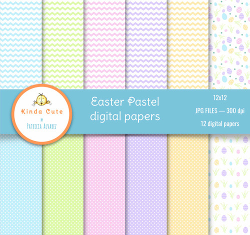 Spring and easter digital papers in pastel colors. Chevron, dots and easter eggs.