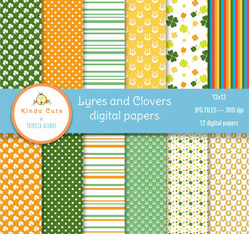 Lyres and clovers St. Patrick's day digital paper set