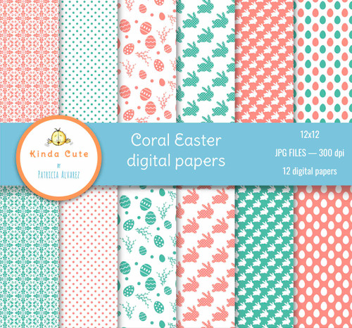 Coral Easter digital papers.