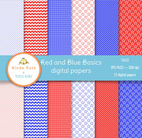 4th of july red and blue digital papers for scrapbooking.