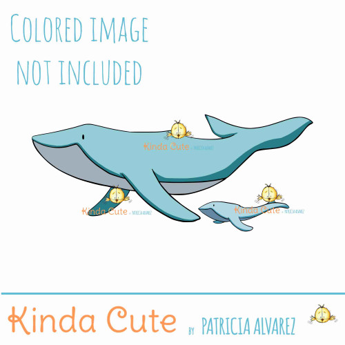 Mother's day digital stamp with whales