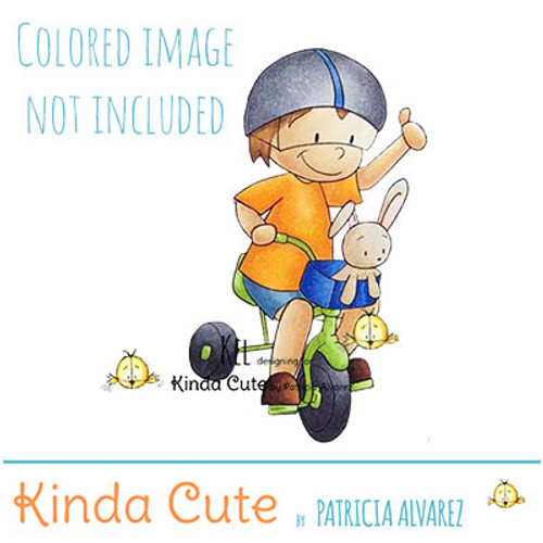Boy riding a tricycle digital stamp. Black and white only. Colored only for reference.
