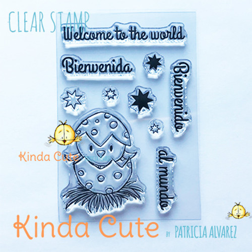Little bird clear stamp set with sentiments in English and Spanish