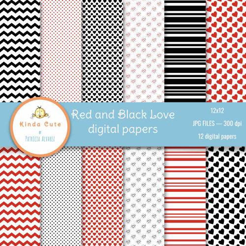 Red and black papers with love theme. Hearts, chevron lines, and dots in black and red.