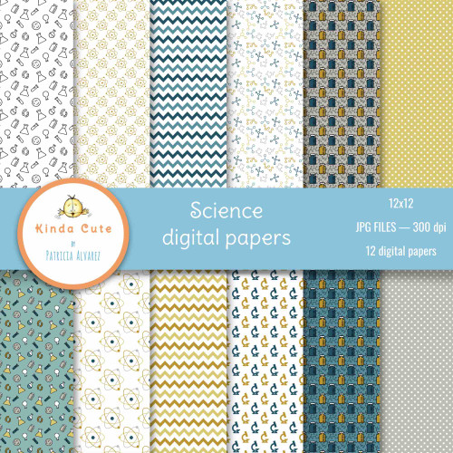 Set of 12 digital papers with a Science theme in blue and yellow colors. Digital scrapbooking papers.