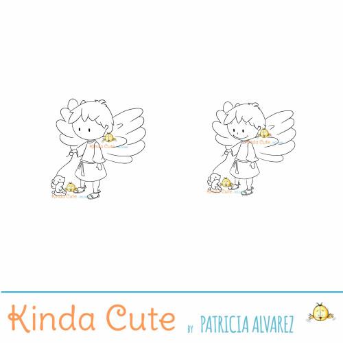 Angel boy with puppy digital stamp