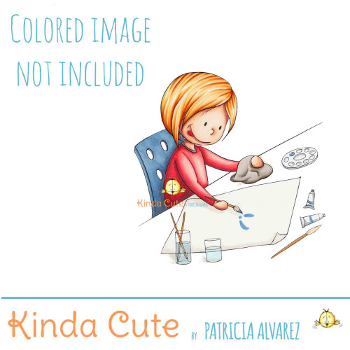 Girl painting in her desk digital stamp.