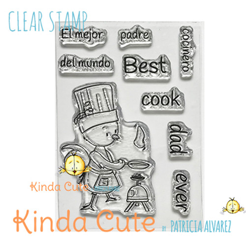 Father's day clear stamp set. Chicken cooking. Best cook ever.