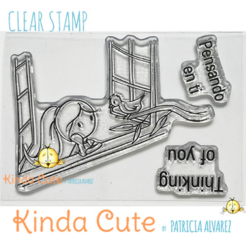 Thinking of you clear stamp set with a girl looking through a window. kindacutebypatricia