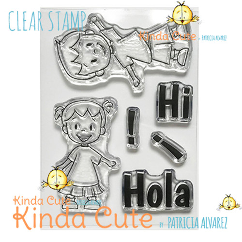 Hello Clear stamp set with two little kids. Kinda Cute by Patricia Alvarez