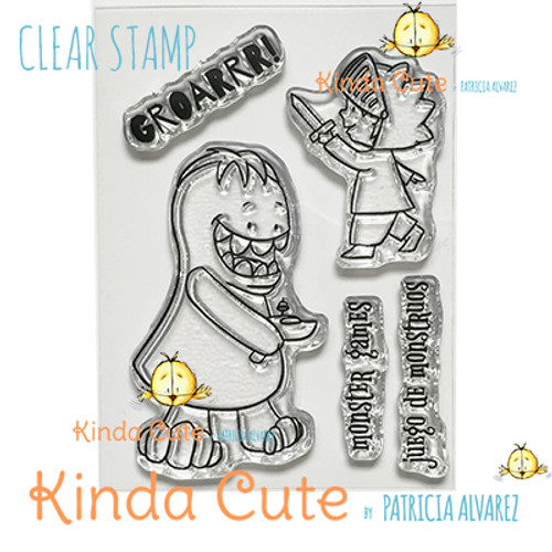 Boy and monster clear stamp set. kindacutebypatricia.com