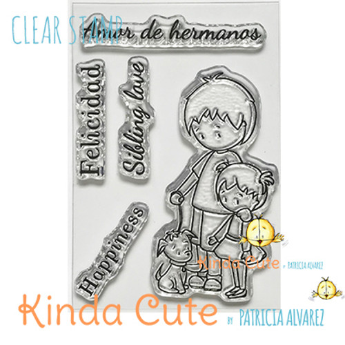 Clear stamp set with siblings (brother and sister) and a puppy. It comes with sentiments in English and Spanish.