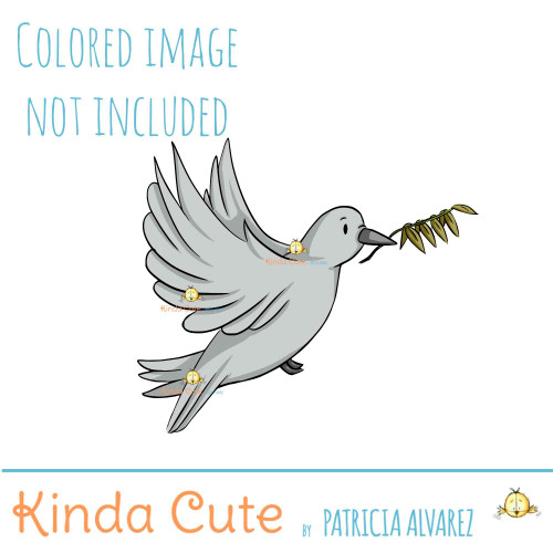 Pigeon digital stamp. Dove digital stamp