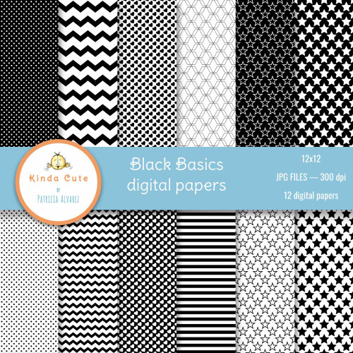 Black digital papers with basic shapes as chevron lines, stars and hearts.