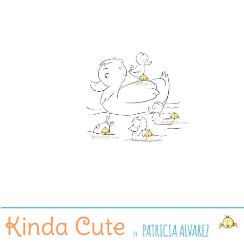 Duck family digital stamp