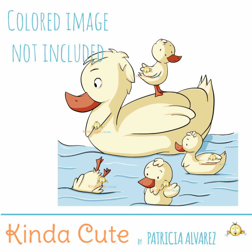 Duck family digital stamp