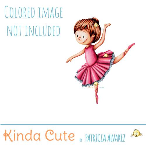Ballerina dancing digital stamp