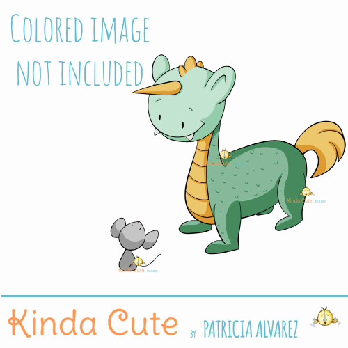 Unicorn monster and mouse digital stamp