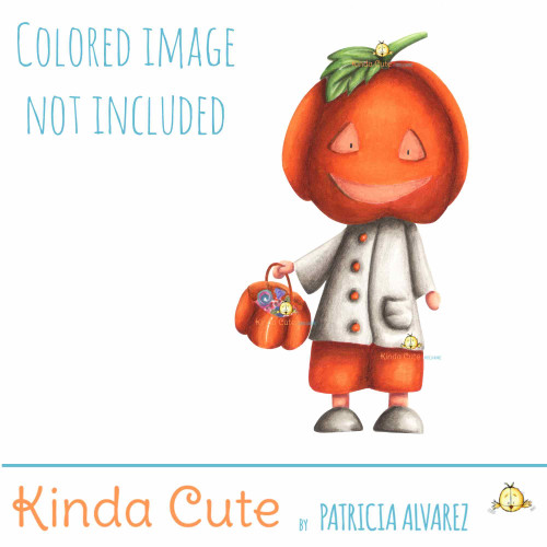 Pumpkin head halloween digital stamp