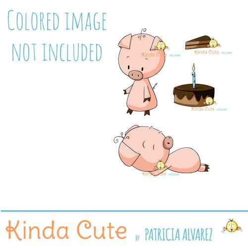 Birthday Piggy digital stamp set