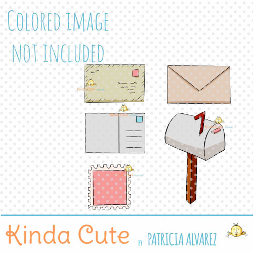 Mail Letters and Mailbox digital stamp set