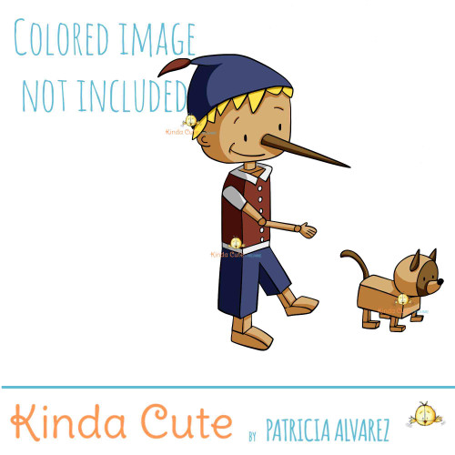 Pinocchio and pet digital stamp