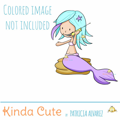 Mermaid making a phone call digital stamp
