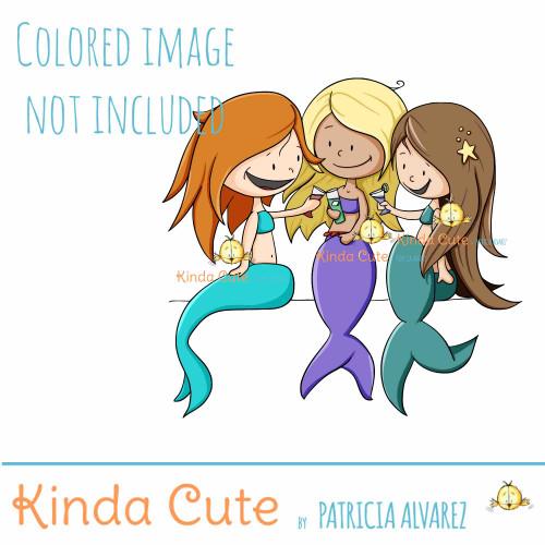 Mermaid party digital stamp