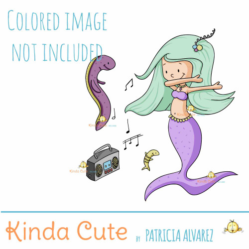 Mermaid dancing digital stamp