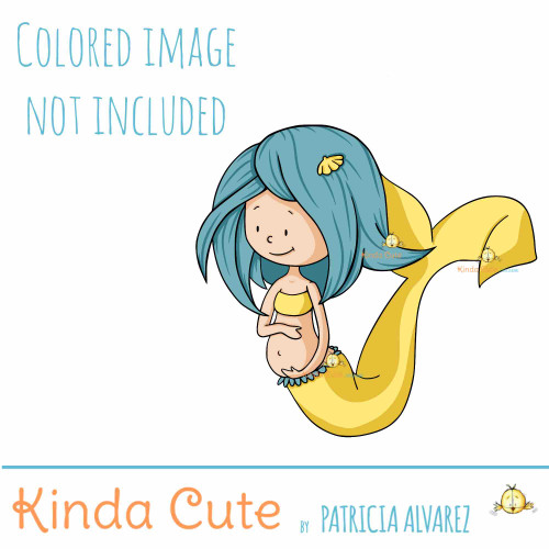 Pregnant mermaid digital stamp