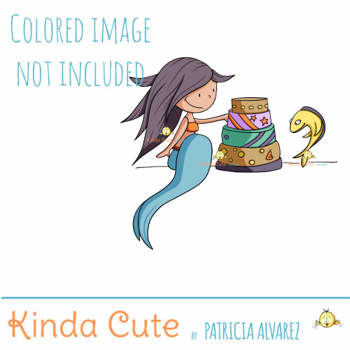 Mermaid and cake digital stamp