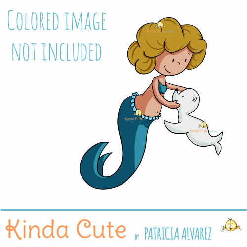 Mermaid and seal digital stamp