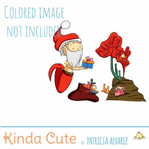 Santa Claus mermaid digital stamp