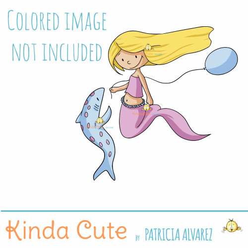 Mermaid and shark digital stamp