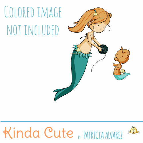 Mermaid and mercat digital stamp