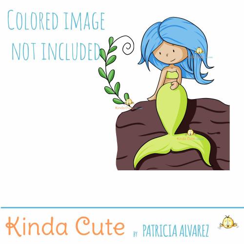 Mermaid thinking of you digital stamp