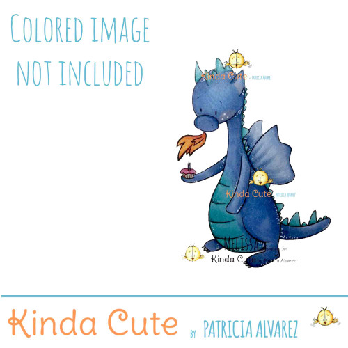 Dragon and cupcake digital stamp. Black and white only. Colored image only for reference.