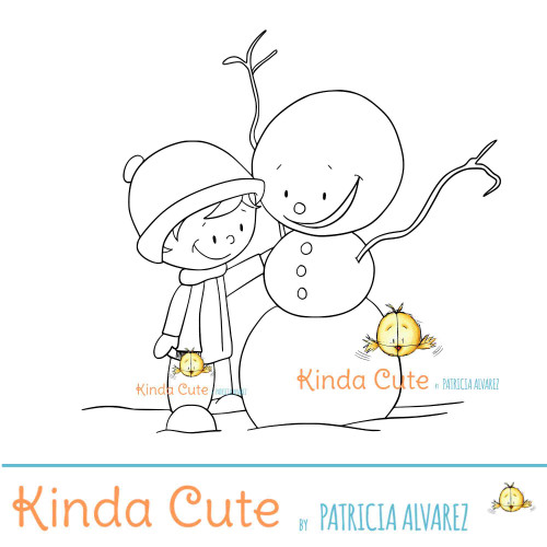 Boy tickling snowman digital stamp.